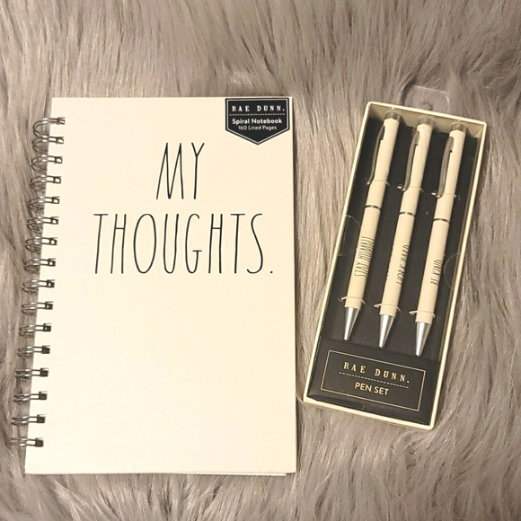 Rae Dunn My Thoughts Spiral Notebook and Pen
